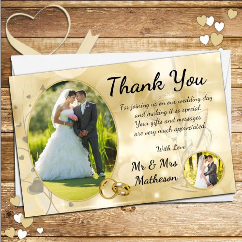 10 Personalised Wedding Gold Bokeh Thank you PHOTO cards N242